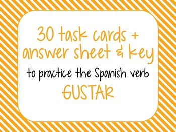Gustar Task Cards with Answer Sheet