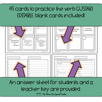 Gustar Task Cards, 45 cards plus 3 editable cards!  INK FRIENDLY VERSION