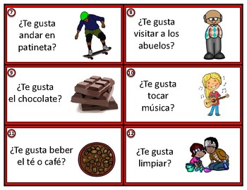 Gustar Spanish Task Cards: ¿Te gusta.....?