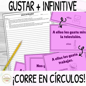 Gustar and Infinitive ¡Corre en Círculos! Activity