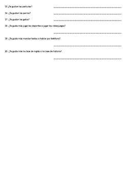 Gustar and Likes / Dislikes Vocabulary Worksheet