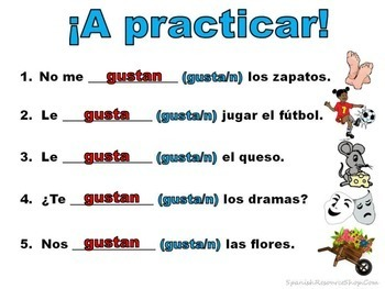 Gustar and Other Spanish Backwards Verbs Notes and Practice Powerpoint BUNDLE