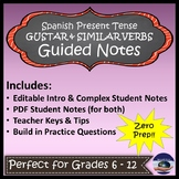 Gustar and Similar Verbs in Spanish - Guided Notes and Key