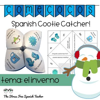Spanish Gustar and Winter Fortune Teller Cootie Catcher Sp