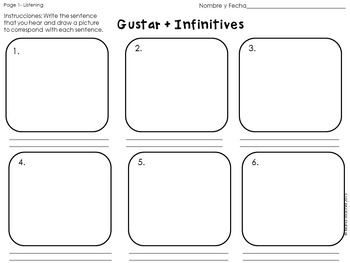 Gustar plus Infinitive Spanish Drawing Activity