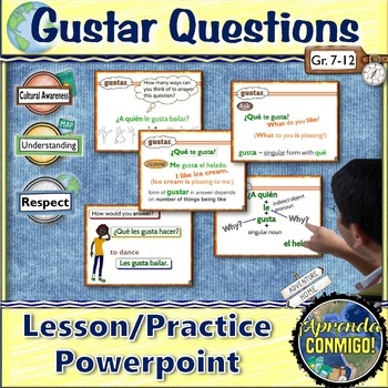 Gustar Lesson/Practice (Spanish): in questions-animated, interactive PowerPoint