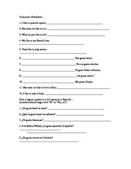 Gustar singular practice: translation, question/answer, speaking