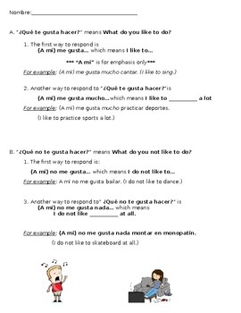 Gustar with Activities/Verbs Notesheet