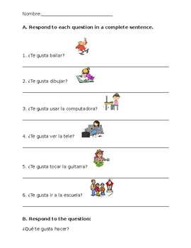 Gustar with Activity/Verb Question Worksheet