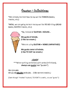 Gustar with Infinitives - Notes and Worksheet Packet