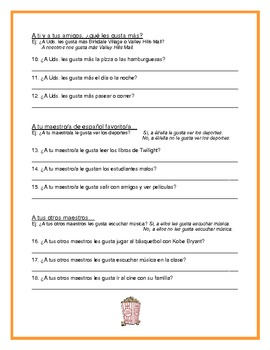 Gustar with Infinitives - Questions and Answers Worksheet