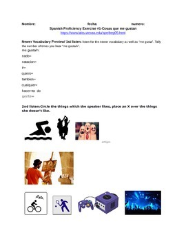 Gustarse Que te gusta hacer? Spanish Proficiency Exercises