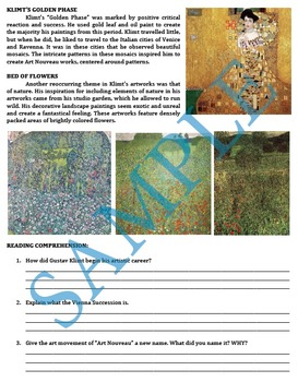 Gustav Klimt Art Nouveau Reading and Comprehension Questions