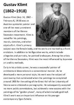 Gustav Klimt Handout