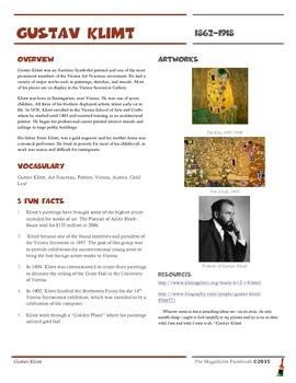 Gustav Klimt Informational Worksheet