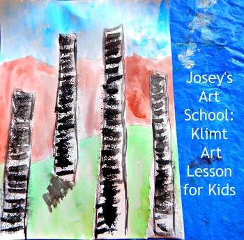 """Gustav Klimt Lesson """"Forest of Birch Trees"""" Kids Art Lesso"""