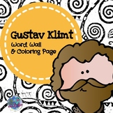 Gustav Klimt Word Wall Signs & Coloring/Tracing Page