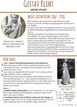 Gustav Klimt artist research & analysis worksheet