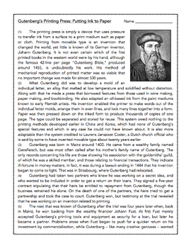 Gutenberg and the Printing Press: Informational Passage and Assessment