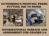 Johann Gutenberg and the Printing Press: Informational Passage and Assessment