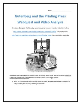 Gutenberg and the Printing Press- Webquest and Video Analysis with Key