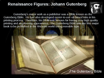 Gutenberg & the Printing Press!  Visual, textual, engaging 12-slide PowerPoint