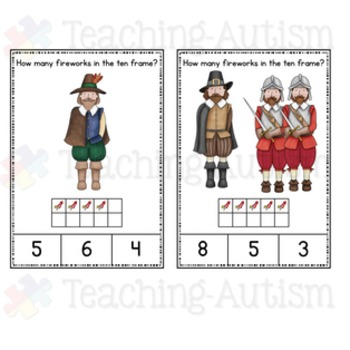 Guy Fawkes Bonfire Night Ten Frame Counting Task Cards