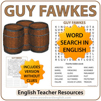 Guy Fawkes Word Search in English