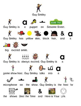 Guy Smiley - Sesame Street picture supported text lesson with questions
