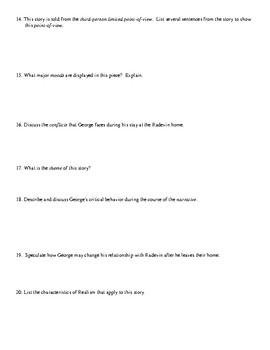 """Realism Short Story: """"A Family"""" Worksheet (or Assessment) & Detailed Answer Key"""