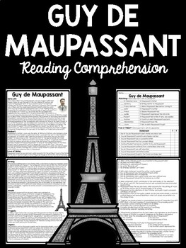 Guy de Maupassant Biography- Reading Comprehension Worksheet; The Necklace