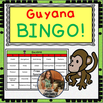 Guyana Country Bingo- 20 Different Boards