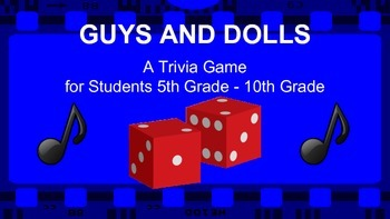 Guys and Dolls (Movie/Film) Team Trivia Game / Review Activity