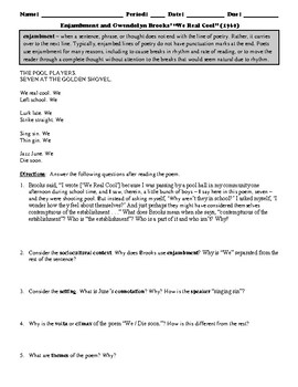 """Gwendolyn Brooks' """"We Real Cool"""" Poem Study Guide and Multiple Choice Quiz"""