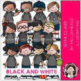 Gym Class clip art - BLACK AND WHITE- by Melonheadz