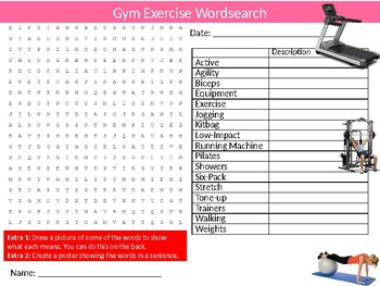 Gym Exercise Wordsearch Sheet Starter Activity Keywords PE SPorts
