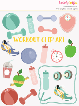 Gym fitness symbols clipart, workout clipart (LC03)