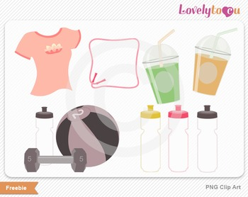 Gym work-out digital PNG clip art graphics