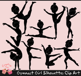 Gymnast Girl Black Silhouettes Clipart Set