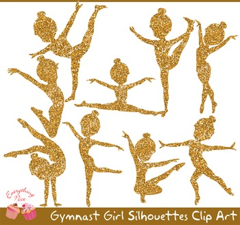 Gymnast Girl Gold Glitter Silhouettes Clipart Set