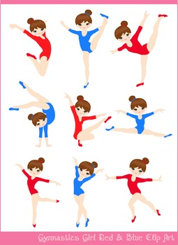 Gymnast Girl in Red and Blue 2 Silhouettes Clipart Set