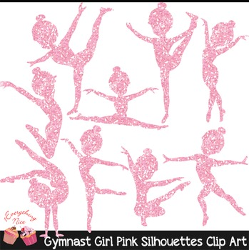 Gymnast Pink Glitter Silhouettes Clipart Set