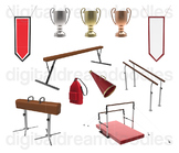 Gymnastic Clip Art - Gymnast Equipment Digital Graphics