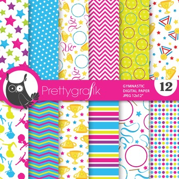 Gymnastic papers, commercial use, scrapbook papers, gym, a