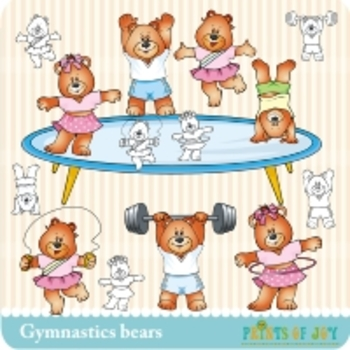 Gymnastics Bears Clipart Graphics