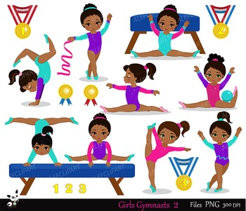 Gymnastics Girls Digital Clipart Set - African american, Multicultural.