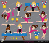 Gymnastics Girls Digital Clipart Set -Personal and Commercial Use