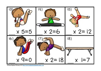 Gymnastics Multiplication Missing Number Equations