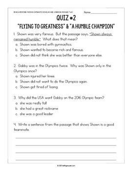 Gymnastics Paired Texts: Gabby Douglas and Shawn Johnson (Grades 1-2)