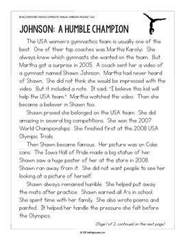 Gymnastics Paired Texts: Gabby Douglas and Shawn Johnson (Grades 1-2)